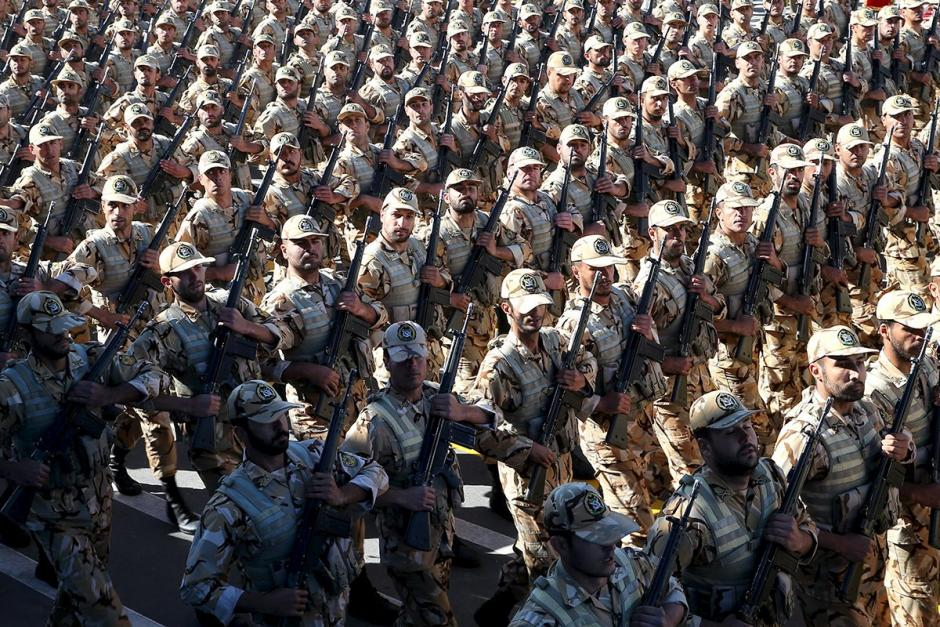 Iranian soldiers march during a military parade marking National Army Day in Tehran