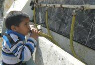 Cadangan air yang didistribusikan PBB di Gaza (AFP)