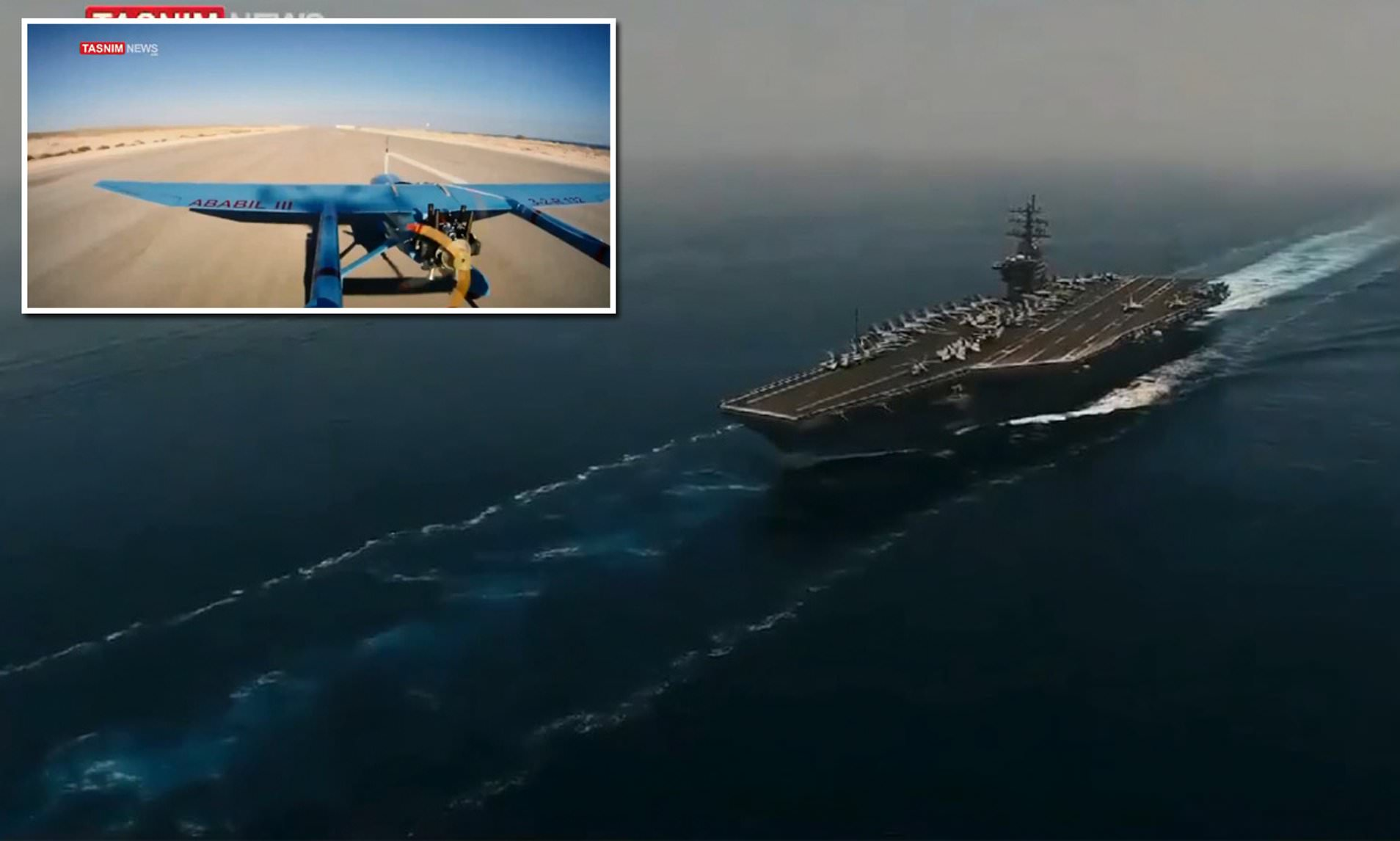 foto kapal induk AS oleh drone Iran
