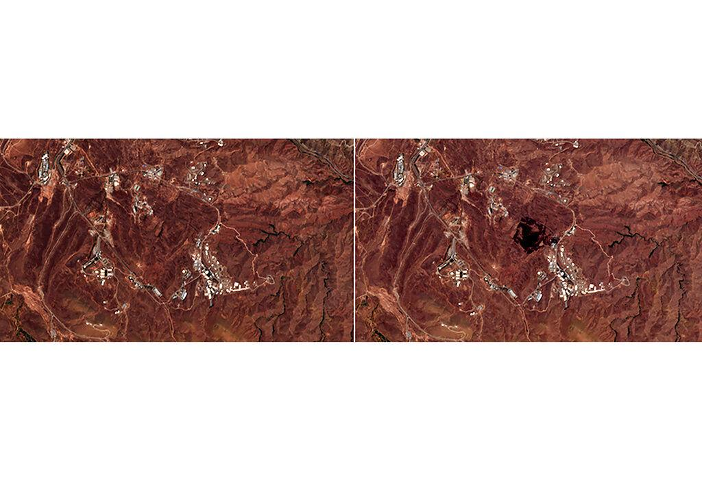 foto satelit dampak ledakan di dekat teheran