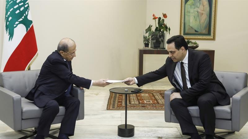 libanon presiden michel aoun dan hassan diab