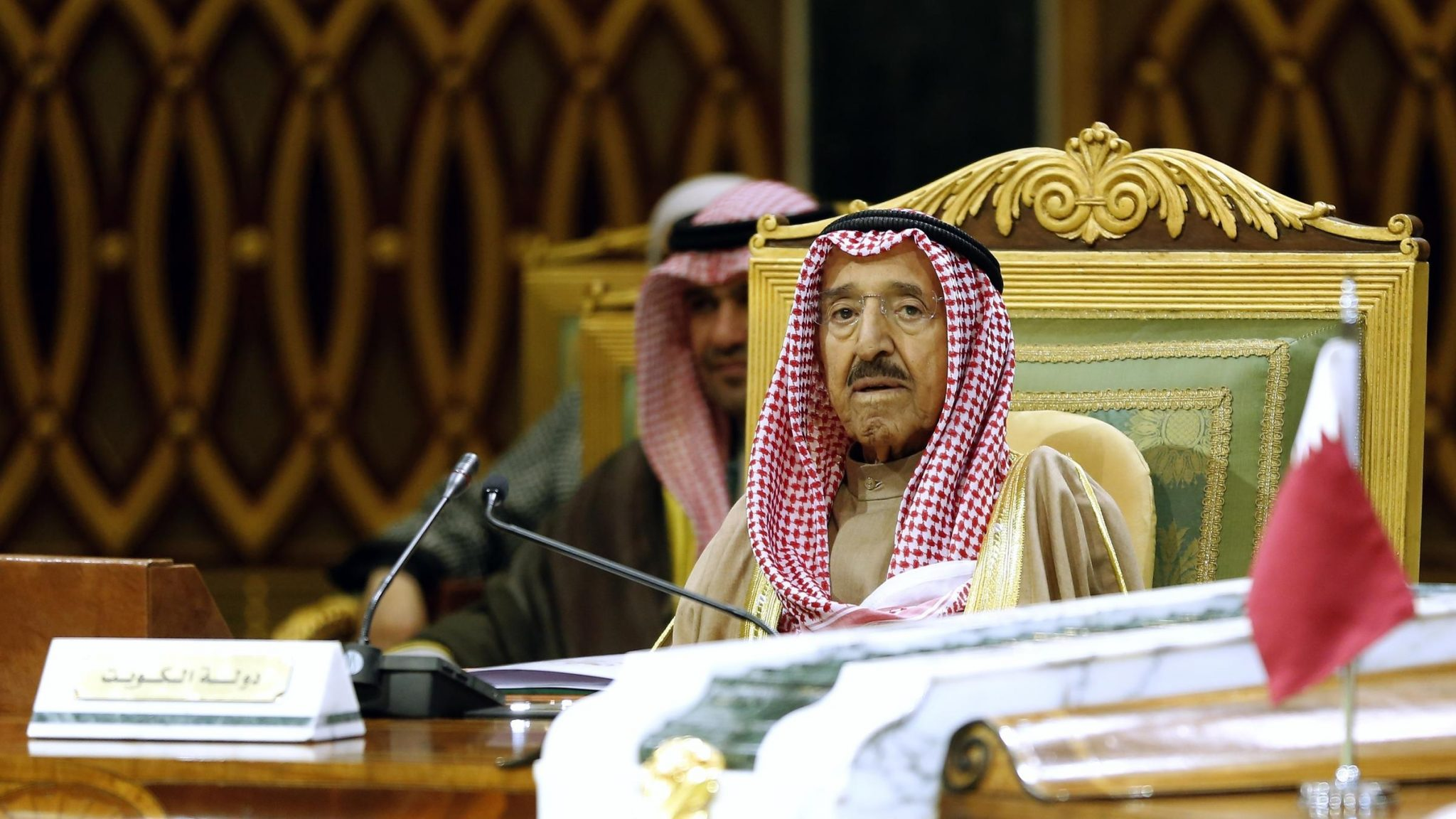 FILE - In this Tuesday, Dec. 10, 2019 file photo, Kuwait's Emir Sheikh Sabah Al Ahmad Al Sabah attends the 40th Gulf Cooperation Council Summit in Riyadh, Saudi Arabia. Kuwait state television said Tuesday, Sept. 29, 2020, the country's 91-year-old ruler, Sheikh Sabah Al Ahmad Al Sabah, had died.(AP Photo/Amr Nabil, File)