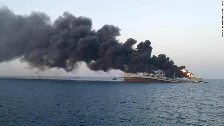 kapal khark iran terbakar